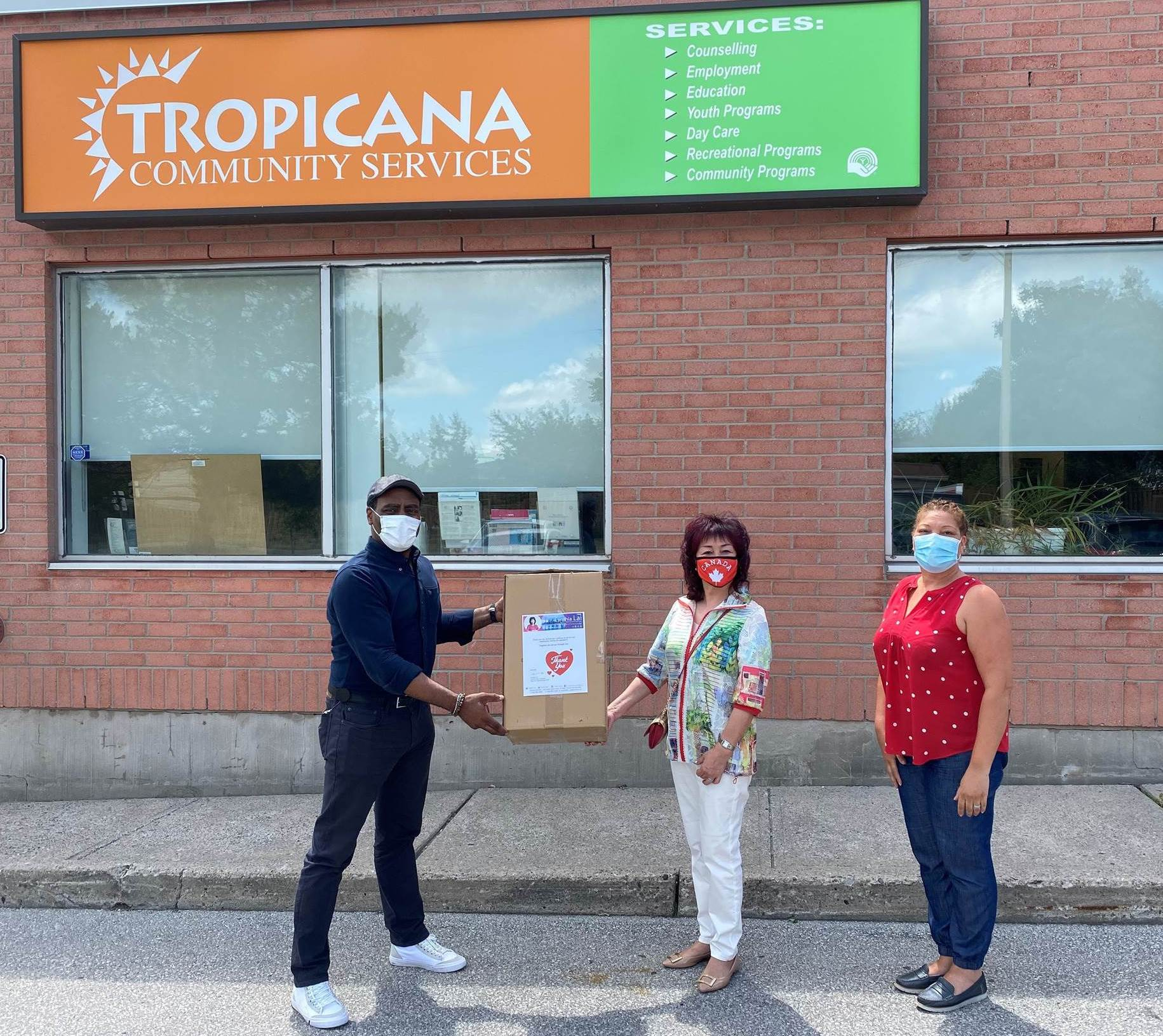 Supporting local agencies with mask donation to Tropicana